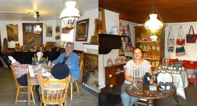 Les 2 artistes de la Maison Santa-Maria à Loudenvielle, rue du Pic-des-Gourgs-Blancs./ Photo A.N