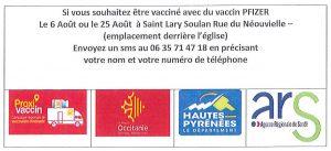 Vaccinodrome (PFIZER) les 6 et 25 août à Saint-Lary